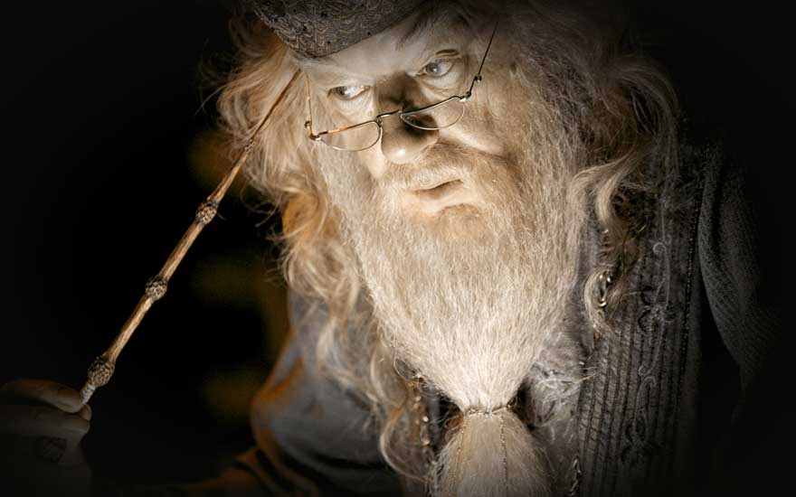 An image of Dumbledor holding the elder wand.