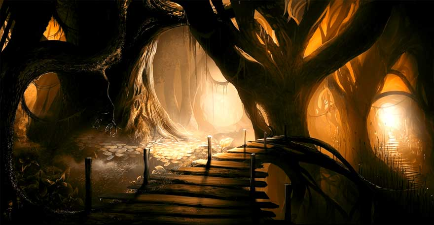 A mysterious forest with a fabulous bridge in middle.