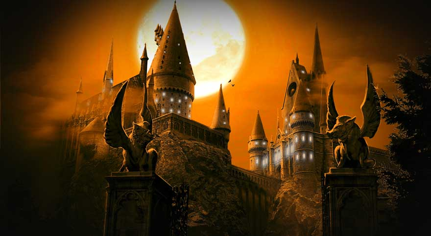 A night picture with moon of Hogwarts wizarding school.